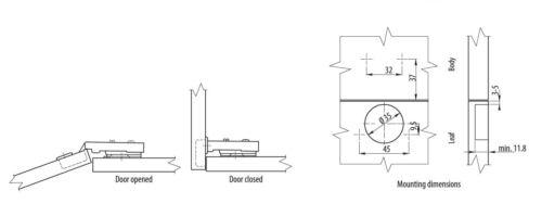 screws 100 x SOFT CLOSE KITCHEN CABINET DOOR HINGE 35 mm INNOVO