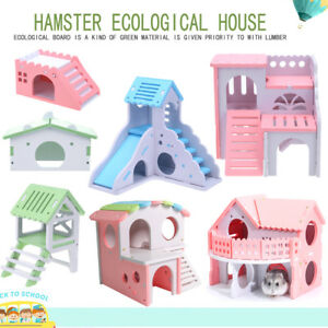 Eco-Board-Guinea-Pig-Hamster-Hammock-Slide-Stairs-Bed-Nest-Villa-House-Cage-lot