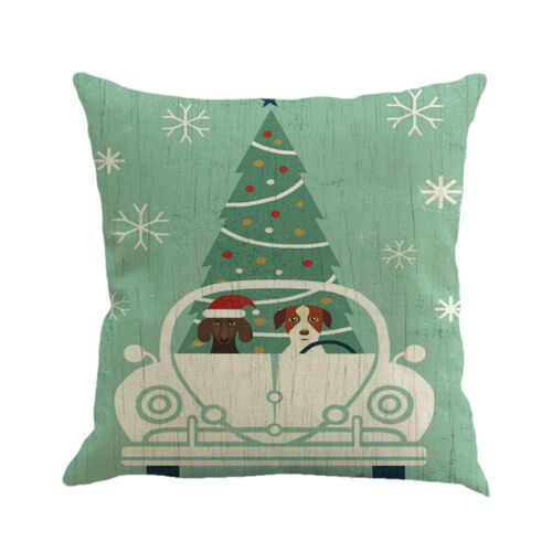 Christmas Xmas Santa Soft Sofa Waist Cushion Cover Home Decor Throw Case
