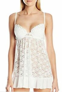 Details About Cinema Etoile White Lily Molded Cup Stretch Lacechiffon Babydoll Wgstring