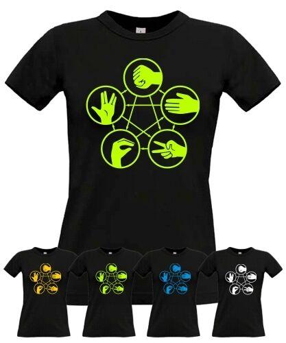 T-Shirt GIRL PAPIER STEIN SCHERE SPOCK SATIRE für big bang theory /& sheldon Fans