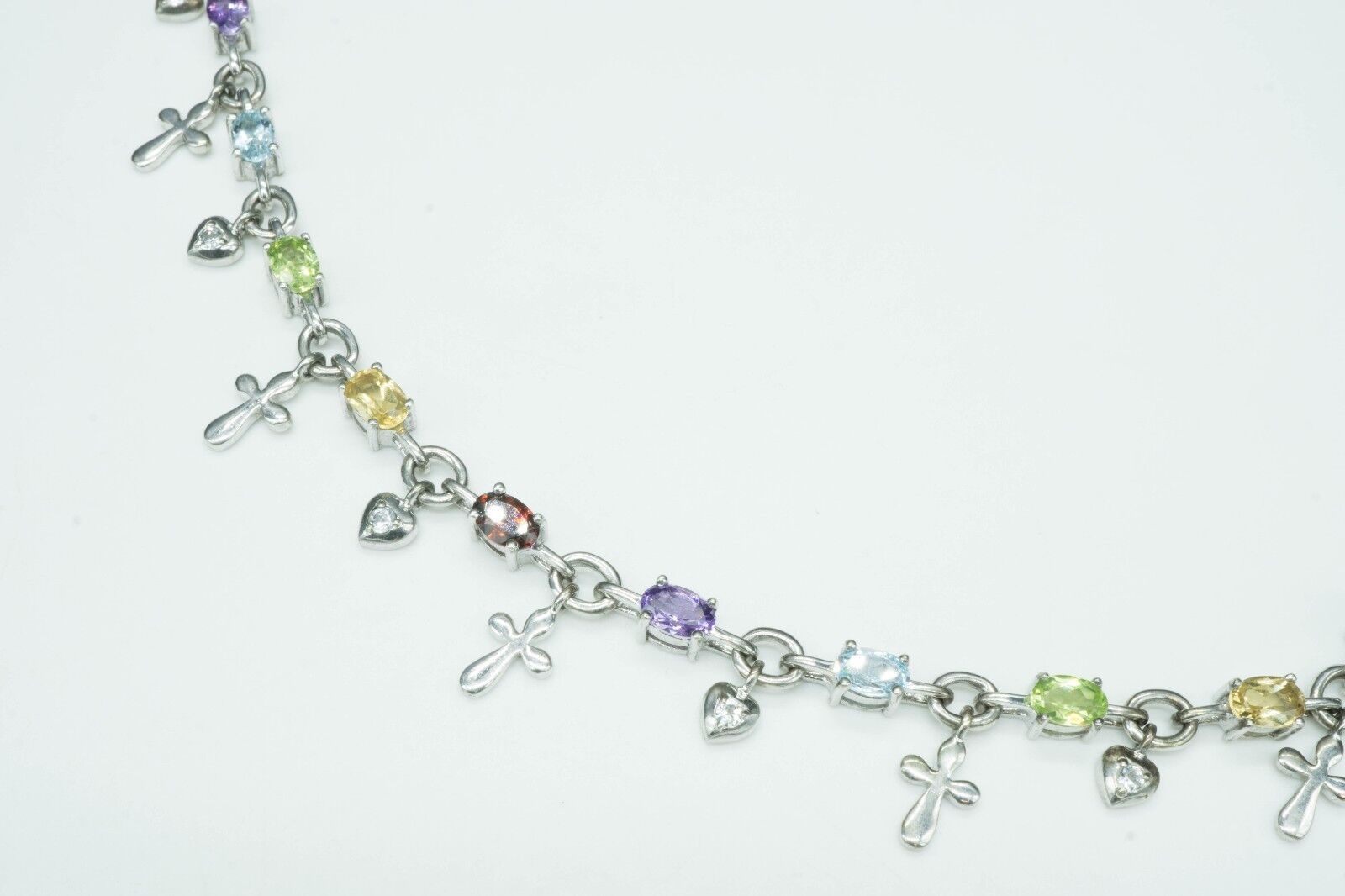 GEMS TV   Multi Gemstone & Sterling   Cross Heart Chain Link Bracelet SZ 7 11.5g
