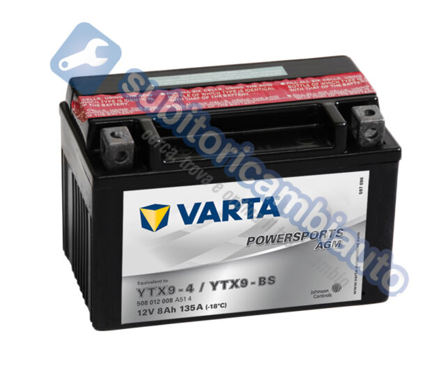 BATTERIA MOTO 8Ah VARTA 12V 80A di spunto Powersports AGM 508012008 YTX9-BS - YT