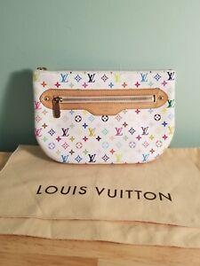 Image is loading Louis-Vuitton-White-Rainbow-Monogram-Pochette-GM-Clutch- 7597618376621