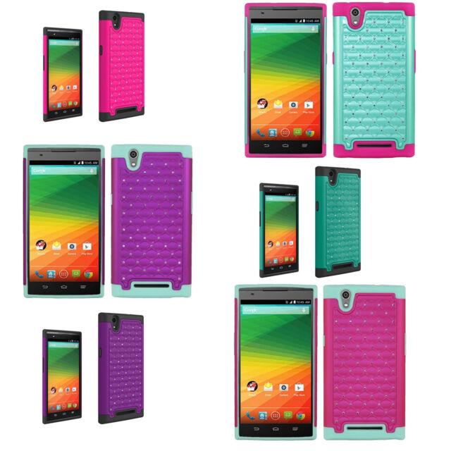 Hybrid Rugged Heavy Duty Hard Diamond Bling Phone Case Cover for ZTE ZMAX Z970