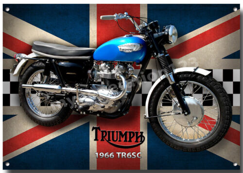 TRIUMPH 1966 TR6SC MOTORCYCLE METAL SIGN. CLASSIC BIKES A4