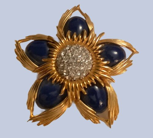 Vintage Joan Rivers Enamel & Rhinestone Flower Pin
