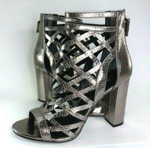 f33ebb8c4c4 GUESS Women 9.5 Eriel Pewter Silver Metallic Gladiator Sandal Heel ...