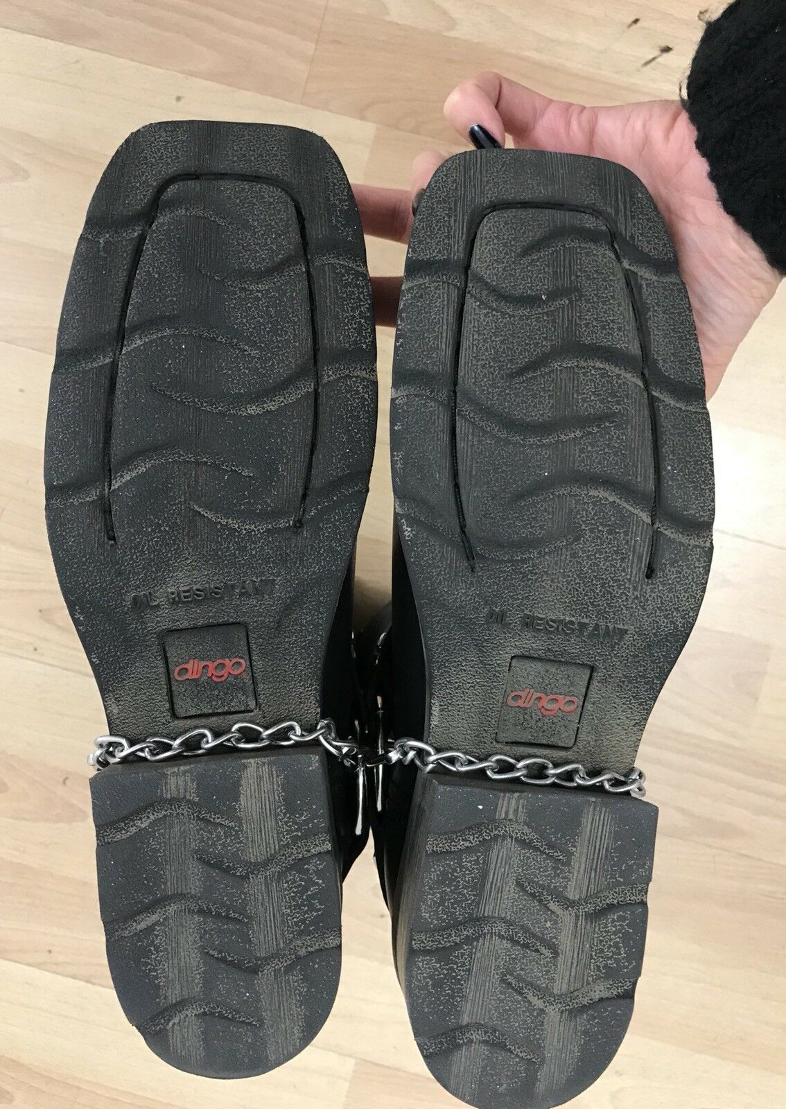 SEXY  BLACK MOTORCYCLE BOOTS w/ chain ornaments (Damens 9.5)