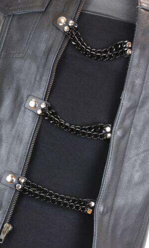 Vest Extender 2 Row Black Chain Biker MC Jacket Motorcycle Snap-4 pc