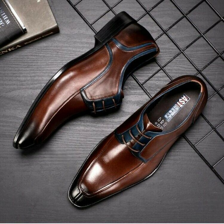 Mens Real Leather Retro British Pointed Toe Formal shoes Low Top Groom Oxford
