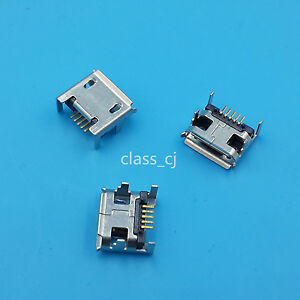 10Pcs-Micro-USB-Type-B-Female-Socket-4-Vertical-Legs-fixed-Solder-Connector
