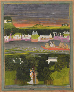 PAINTING-18TH-CENTURY-INDIAN-RADHA-KRISHNA-IN-BOAT-OF-LOVE-POSTER-PRINT-LLF0094