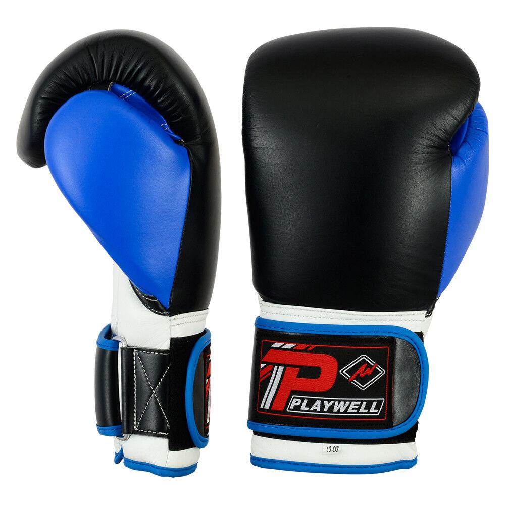 Playwell Leder Leder Leder pro V2p Boxhandschuhe Blau Sparring Muay Thai Mma Tasche ff25d3