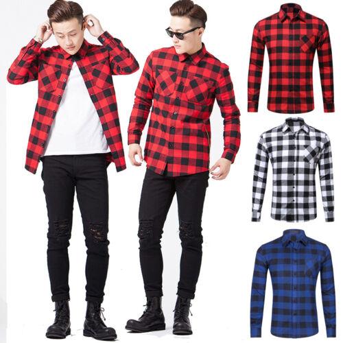 Homme/'S 100/% Coton Casual Plaid Chemises Poche Manches Longues Slim Fit chemises de flanelle