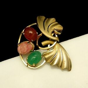CURTIS-DCE-Vintage-Brooch-Pin-Gold-Filled-Egyptian-Glass-Scarabs-Circle-Leaves