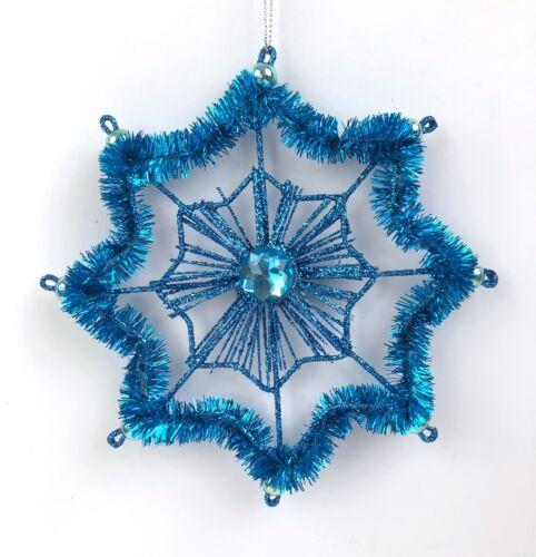 Christmas Ornament Blue Geometric Star Glitter Tinsel Holiday Tree Decor NEW