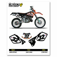 2001-2002 Ktm Exc Dirt Bike Graphics Custom Number Plates