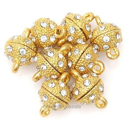 5 Pcs Golden Round Ball Crystal Rhinestone Strong Magnetic Clasps Jewelry 8mm
