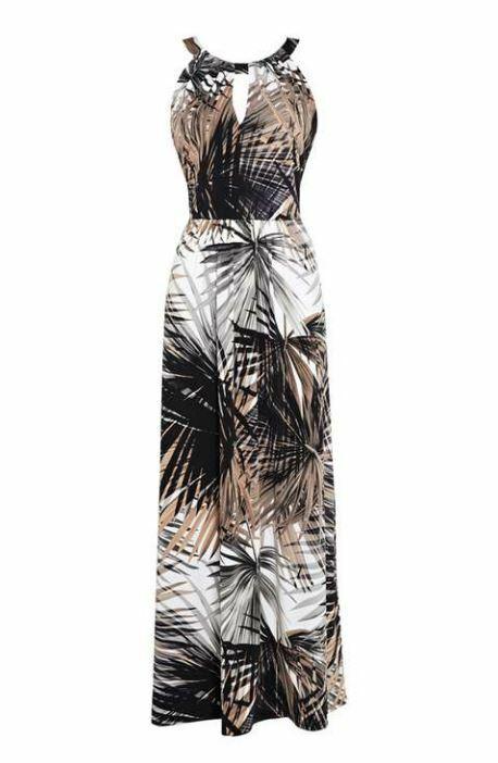 Wallis Stone Palm Print Maxi Dress UK 8 EU 36 LN097 FF 12