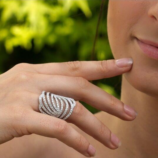 Dolly-Bijoux Bague T62 Rhodié Filigrane Twist Micro-sertie de Diamant Cz silver