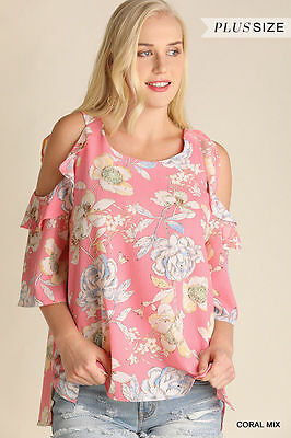 Umgee  PLUS SIZE XL  Floral Print Ruffle Cold Shoulder Top WR7713