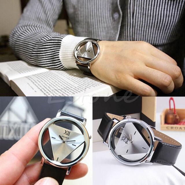 Women Men Fashion Leather Band Stainless Steel Sport Analog Quartz Wrist Watch