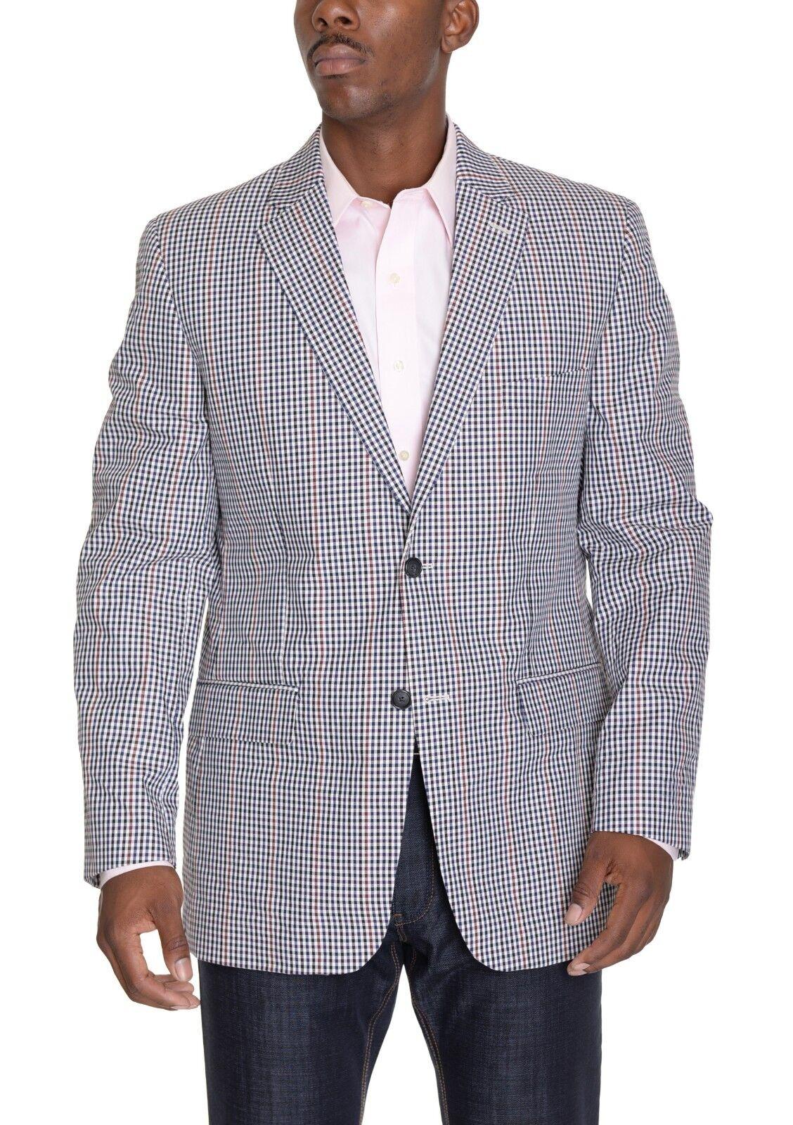 Macy's Club Room Blau rot Cream Plaid Cotton Two Button Summer Sportcoat 40S