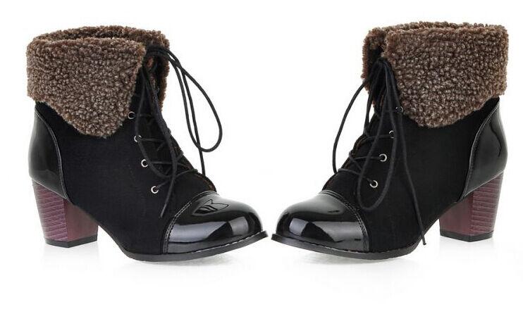 botas zapatos de mujer en negro talón 6 cm como piel cómodo 9145