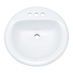 "PROFLO PF194R 19"" Round Drop In Vitreous China Sink - White"