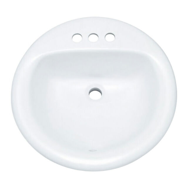 """PROFLO PF194R 19"""" Round Drop In Vitreous China Sink - White"""