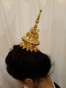 499794884 Image is loading Traditional-Thai-WOMEN-Dance-gold-Costume-HEADDRESS-crown-