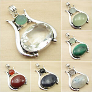 925-Silver-Plated-GREEN-SEA-CHALCEDONY-amp-CRYSTAL-amp-Other-Gemstone-Pendant-Gift