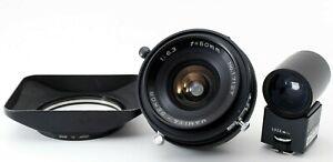 Molto-buono-con-cappuccio-FINDER-Mamiya-Sekor-50mm-f6-3-LENTE-PER-SUPER-23-Universal-Press