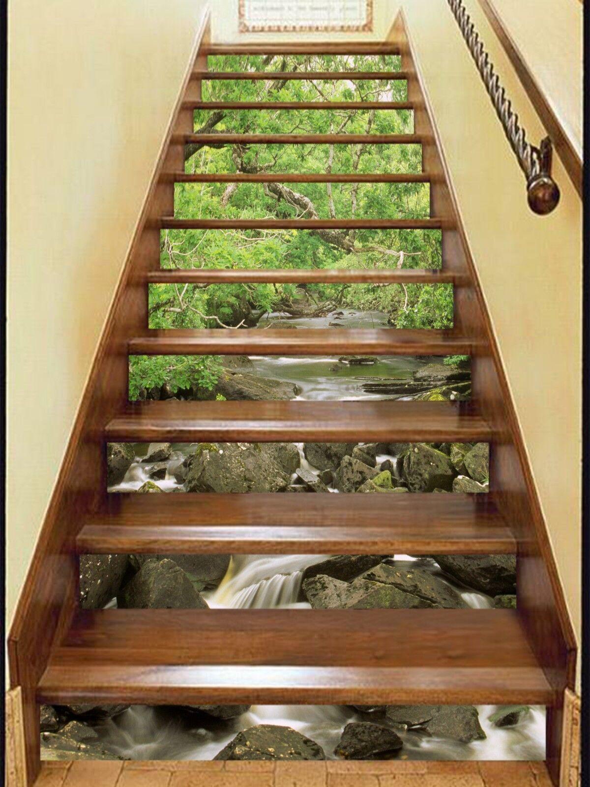 3D Wald Fluss 272 Stair Risers Dekoration Fototapete Vinyl Aufkleber Tapete DE