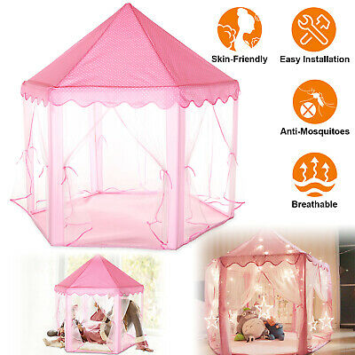 buy popular b5c74 6a056 Girls Pink Princess Castle Cute Playhouse Children Kids Play Tent Outdoor  Toys # | eBay