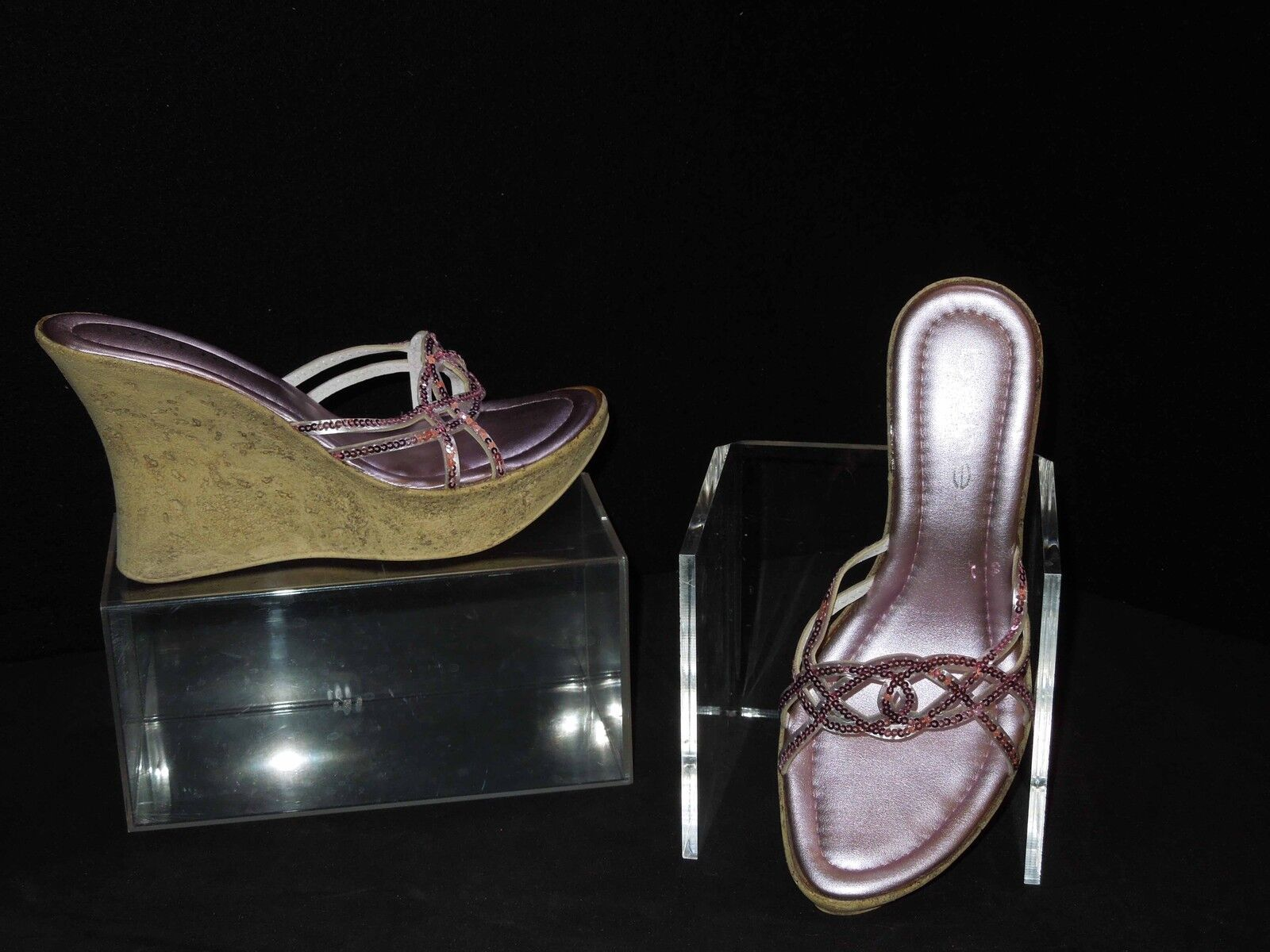 Bebe púrpura rosadododo Lentejuelas    cariño  sandalia de cuña 7M dc3253