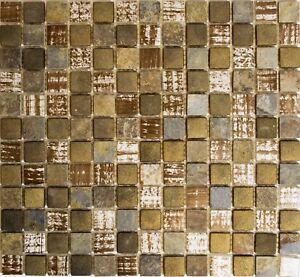 Glasmosaik-Naturstein-braun-mix-rustikal-WC-Bad-Kueche-Wand-Art-WB82-1206-1-Matte