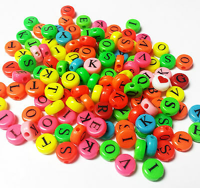 FREE Lot 100PCS bulk letter A-Z round multi color Charms Loose Beads 10mm