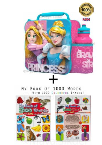 3D Disney Princess Lunch Bag With Water Bottle & Book Kids Gift Set Nursery