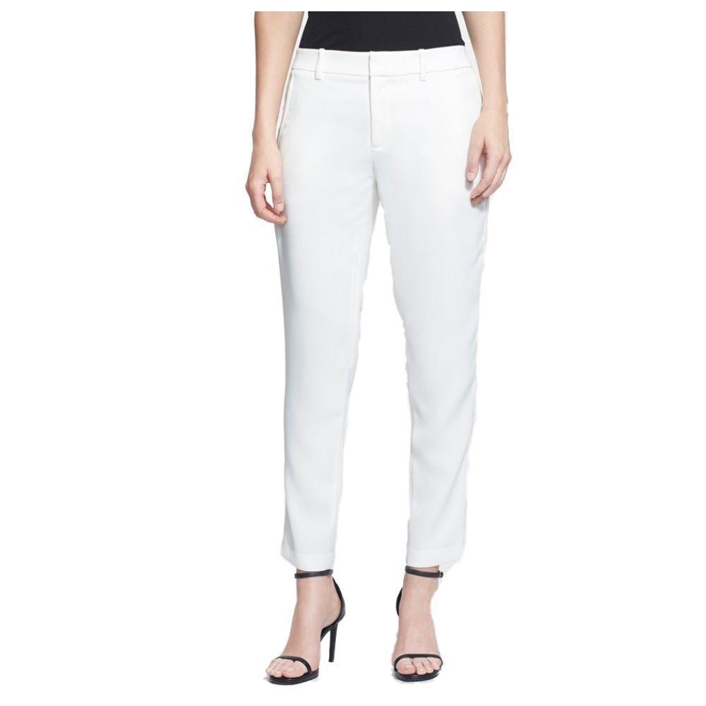 Vince Women's Satin Binding Easy Trousers Size 6 Chalk NEW V210820927