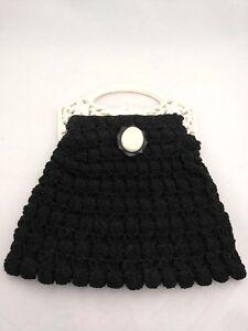Vtg-Tilco-Crochet-Macrame-Purse-Handbag-Black-W-Cameo-Decoration-White-Handles