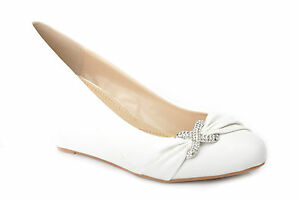Image Is Loading White Diamante Wedge Heels Wedding Pumps Bridal Shoes