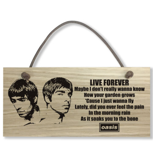 #798 OASIS Liam Noel Oak Veneer Quality Wooden Plaque Door Hanger Sign 9x19cm