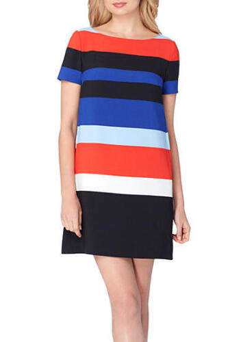 Tahari ASL Short Sleeve Striped Shift Dress for woman Size 10//12//16 NWT $128