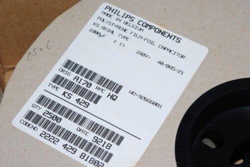 10pcs-philips ks429 1800p 1,8 Nf 160v 1/% de poliestireno film-foil Axial Capacitor