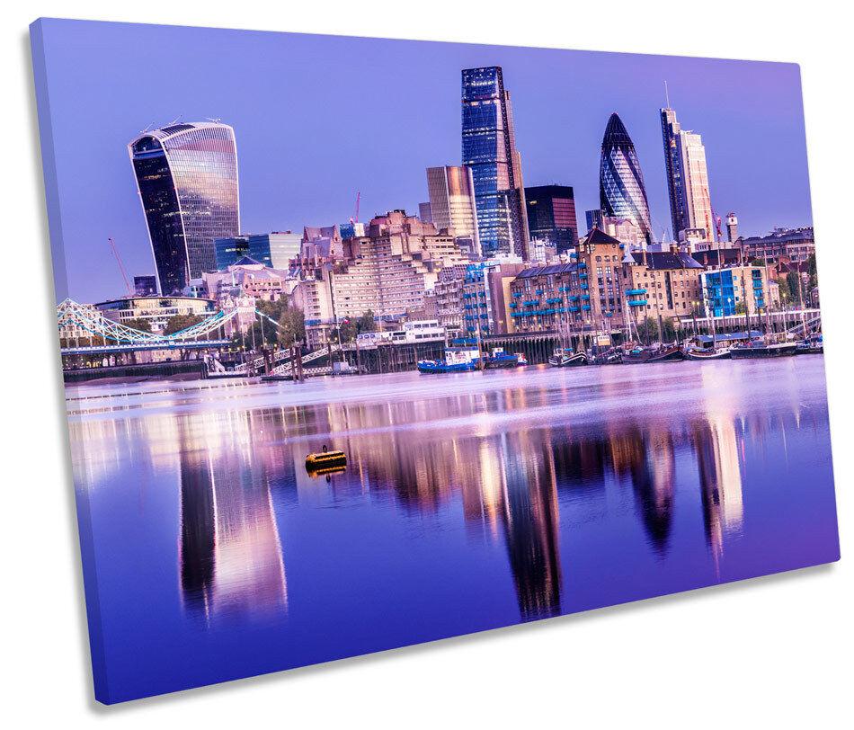London Stadt Skyline River Thames CANVAS Wand Kunst Bild Drucken Single
