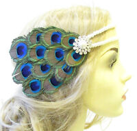 Pfau-perle Feder Kopfteil 1920s Stirnband Flapper Große Gatsby Ivory 1573