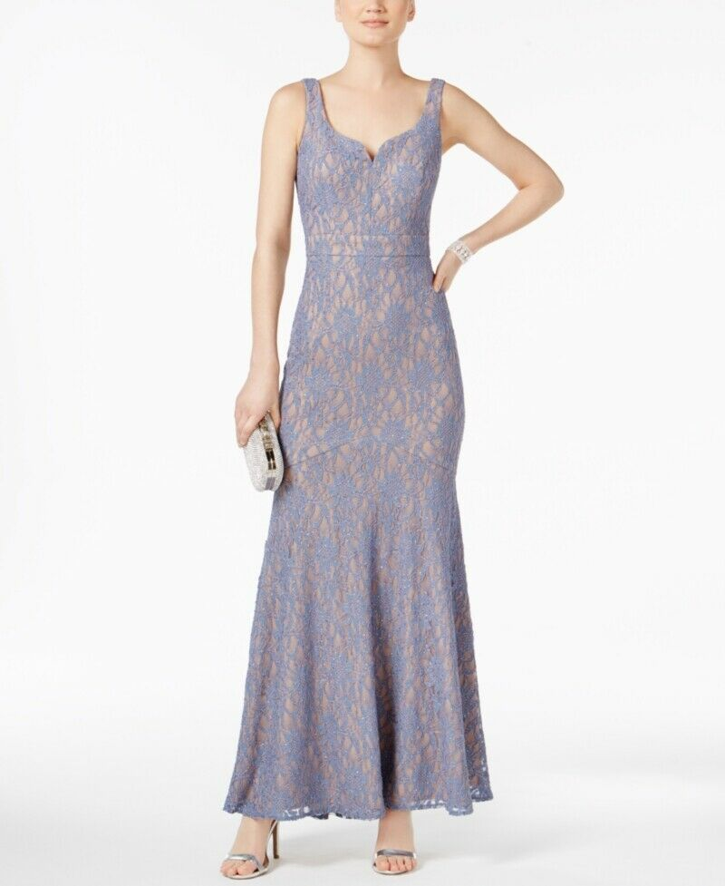 420 BETSY & ADAM WOMENS blueE GLITTER LACE SEQUINED PETITE GOWN DRESS SIZE 12P