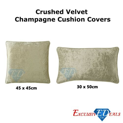 Plain Luxury Crushed Velvet Square Cushion Covers With Piped Edges 2 Sizes NEW